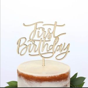 First Birthday Maple Wood Cake Topper